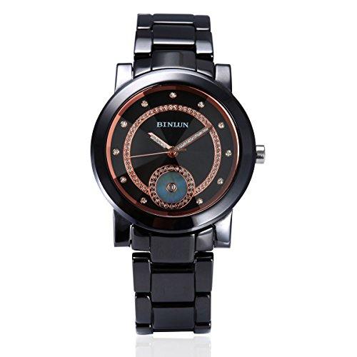 Binlun orologio da uomo con data Calendar Big fronte rotondo in ceramica nera impermeabile Movimento al quarzo giapponese