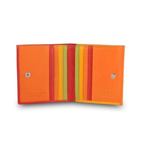 Portafoglio di pelle multicolore porta carte e monete di DUDU Rosso