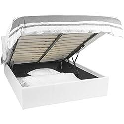 EuropeDirectShopping Lit Coffre | Luna Ottoman | Blanc | 180x200 | 900 litres d'espace de Stockage | Tête de lit Detachable