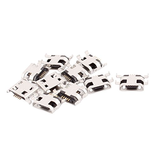 Teléfono Micro tipo USB-B 5 pin hembra conectores SMD soporte de Panel 10 piezas