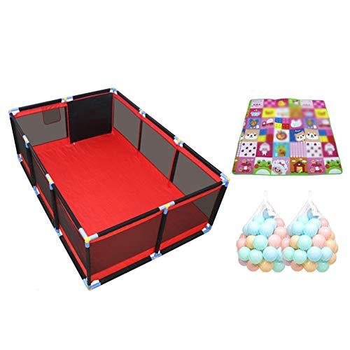 Playpens Large Twins Security Fence, Portable Baby Playard for Learn to Walk, Red +black (color : Large, Size : Playpen+mat+100ball)  BSNOWF