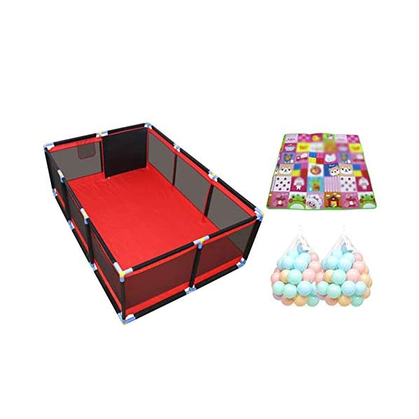 Playpens Large Twins Security Fence, Portable Baby Playard for Learn to Walk, Red +black (color : Large, Size : Playpen+mat+100ball) Playpens  1