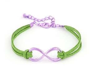 Bracelet Infini Cordon Vert - Or