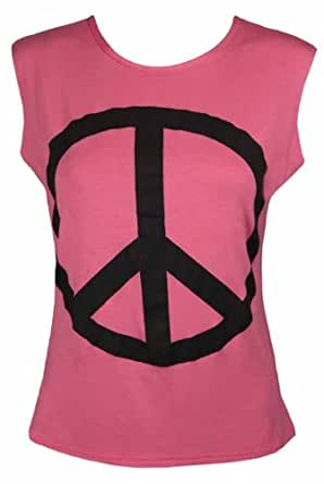 New Ladies Peace Symbol Print Sleeveless T-Shirt Ladies Crew Neck Baggy Loose Fit Summer Festival Tank Top Coral Size 8 10