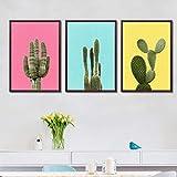 jjshily Nordique Minimaliste Trois Couleurs Cactus Triple Peinture sans Cadre Mur Affiche De Art pour Le Salon Décoration De La Maison, 30X40