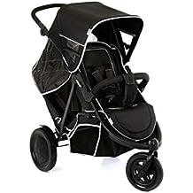 Hauck Freerider SH12 - Silla de paseo gemelar para gemelos o hermanos de diferentes edades desde 0 meses hasta 15 kg, sistema de arnés de 5 puntos, para 1 o 2 niños, 128 x 61 x 112 cm, color negro