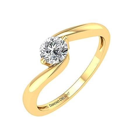Diamond Delight 18 carats Or jaune Rond G-H Diamant blanc