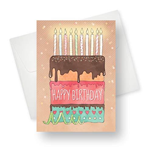 Geburtstagskarte, mehrlagig, hochwertig, mit einzigartigen Designs, für Jungen, Mädchen und Erwachsene, 14 x 19 cm, 175 Stück