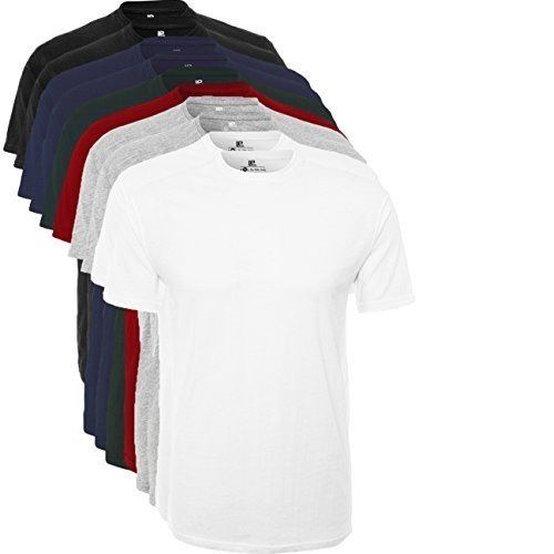 Lower East Camiseta manga corta Hombre, Pack de 10, Multicolor (Schwarz/Weiß/Navy/Grau/Rot/Grün), XX-Large, Pack de 10