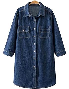 De Gran Tamaño Mujeres Otoño Coreano Camisas Salvaje Sueltas Pantalones Vaqueros Chaquetas