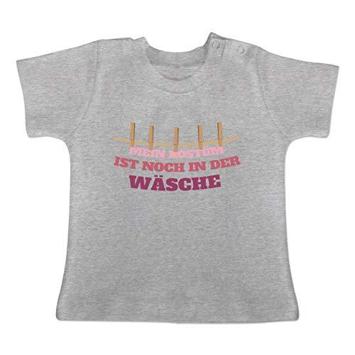 Karneval und Fasching Baby - Mein Kostüm ist noch in der Wäsche Wäscheleine rot - 6-12 Monate - Grau meliert - BZ02 - Baby T-Shirt Kurzarm