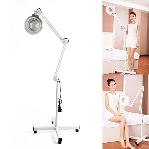 JUEYAN Lupenleuchte LED mit Standfuß 5 Dioptrien Lupenlampe Kaltlicht Standlupe mit Licht und...