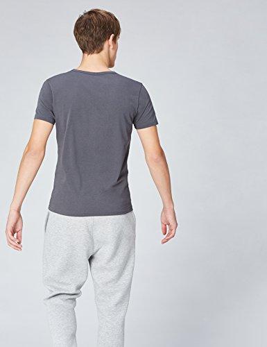 FIND Herren T-Shirt Essential V-Neck, 2er Pack Mehrfarbig (Mid Grey X1 Charcoal X1)