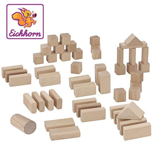 Eichhorn 50 naturfarbene Holzbausteine in Aufbewahrungsbox mit Sortierdeckel, FSC 100{961ded3610f36e107a7b668b143842a37172cbf4a3e867b679c7eb4fc1f83c9e} zertifiziertes Buchenholz, hergestellt in Deutschland, Motorikspielzeug geeignet für Kinder ab 1 Jahr