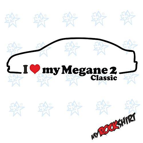 """'2x i love my """"Renault Megane 2Classic Bj. 03–09aprox. 15x 5cm silueta, pegatinas, Geográfico, Auto Adhesivo, Car"""