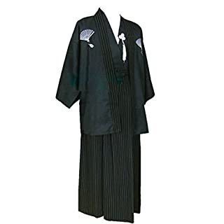 ACVIP Men's Traditional Samurai Japanese Kimono Robe Cosplay Costume (M, Black)