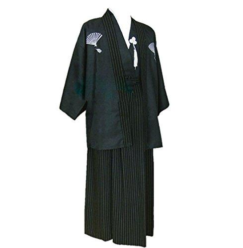 ACVIP Herren Japanisch Kimono Mann Nachthemd Hakama Robe Costume(China S,Brust:110 cm/Schwarz) (Kimono Kleidung Japanische)