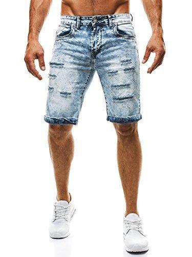 OZONEE Herren Jeans Hose Kurzhose Denim Bermudas Shorts Clubwear BRUNO LEONI 313 GRAU 34