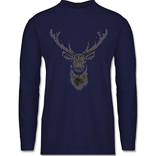 Weihnachten & Silvester - Hirsch Pixel - Longsleeve / langärmeliges T-Shirt für Herren Navy Blau