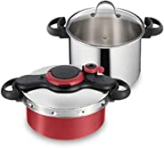Tefal Clipso Minut Pressure Cooker Set, 5L Nonstick Titanium Coating Pot and 7.5L Stainless Steel Pot, Multi C