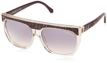 Roberto Cavalli Women's Rc800s Dark Brown / Light Beige Frame/Gradient Smoke Lens Plastic Sunglasses