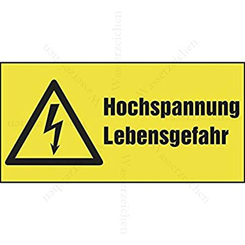 Sticker-Designs 20cm! Aufkleber-Folie Wetterfest Made IN Germany Hochspannung Starkstrom Lebensgefahr Vorsicht Gelb S760 UV&Waschanlagenfest-Auto-Vinyl-Sticker Decal Profi Qualität