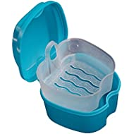 Tonsee False Teeth Storage Box Denture Bath Box Case Dental with Hanging Net Container (Blue)