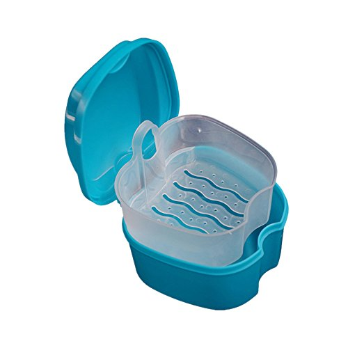 tonsee False Teeth Aufbewahrungsbox Prothese Bad Box Case Dental mit Aufhängen Net Container