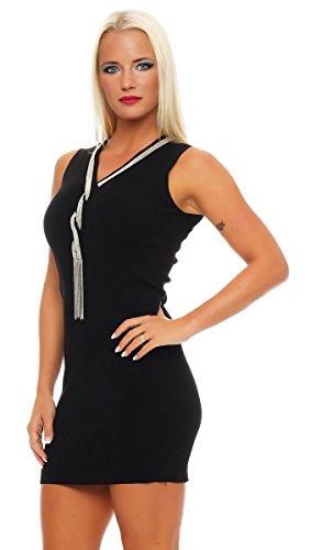 5729 Fashion4Young Damen Strickkleid Minikleid LongPullover Feinstrick  ärmellos Gr. 36/38 Kleid Schwarz ...