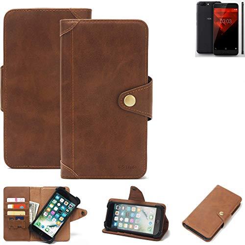 K-S-Trade® Handy Hülle Für NOA H10le Schutzhülle Walletcase Bookstyle Tasche Handyhülle Schutz Case Handytasche Wallet Flipcase Cover PU Braun (1x)