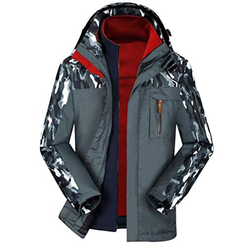 PFSYR Herren 3 in 1 Skianzug, Winter Outdoor Warm halten Zweiteiliger Anzug Wasserdichte Jacke Bergsteigen Anzug (Farbe : Grau, größe : M)
