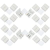 Liwinting 10pcs L forma 4pin LED conector rápido divisor de ángulo recto ángulo del conector DC 12V 24V clip corchete para SMD 5050 RGB LED Strip Lights LED Strip al adaptador Strip