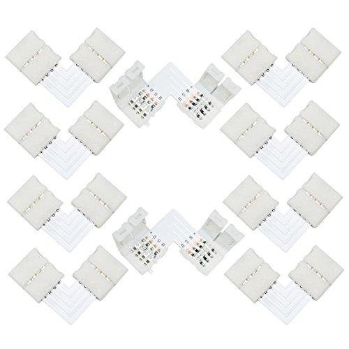 Liwinting 4 Polig 10mm LED RGB Streifen Verbinder L Form LED RGB Eckverbinder,Rechts Winkel Ecke Verbindungen LED Strip Stecker Geeignet für SMD 5050 3528 2835 RGB LED Streifen Lichter(10 Stück/Paket) Led-paket