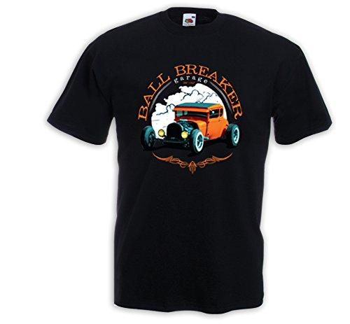 Hot Rod T-Shirt Ball Breaker Vintage Rockabilly Muscle Car Rat Rod V8 Schwarz