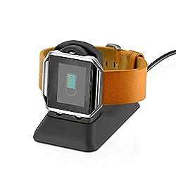 EloBeth Fitbit Blaze Zubehör-Ladestation Charger Dockingstation Charging Plattform Adapter mit Micro USB Kabel für Fitbit Blaze Ladegeärt Fitness Smart Watch, Schwarz
