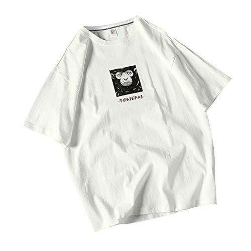 Crazboy Herren Sommer Beiläufig Fashion Super Shirt Druck Top lose Kurzarm T-Shirt(Large,Weiß-D) - Little Me-jungen-pyjamas