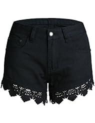 Shorts Pour Femmes Lace Flower Creux Taille Haute Stretch Denim Jeans De Loisir Vêtements De Clubwear Pantalons Chauds