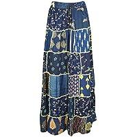 Mogul Interior Womens Long Maxi Skirt Blue Hippie Gypsy Boho Skirt S/M