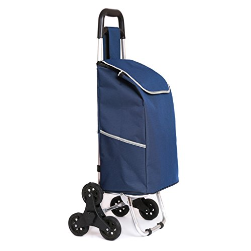 KUN PENG SHOP Aluminium-Legierung sechs runde Kletter-Shop Warenkorb falten tragbare Auto Gepäckwagen ziehen den Lenker ziehen das Auto A+ ( Farbe : Cyan ) -
