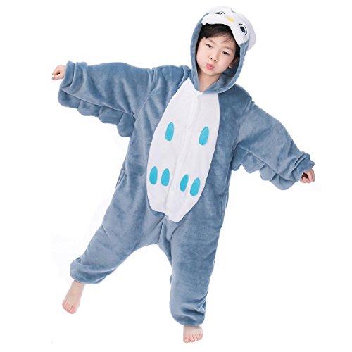 Kigurumi Pyjamas, Kinder Pyjamas Tier Einhorn Jumpsuit Nachtwäsche Unisex Cosplay Kostüm für Mädchen und Jungen Kinder cosplay Halloween (S:Height(35.4inch-39.4inch / 90cm-100cm), (Herren Kostüme Eule)