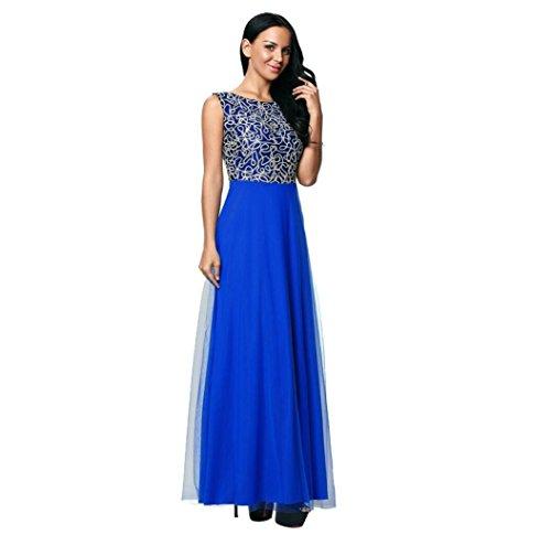 GJX Europe et les États-Unis Robe élégante Chic brodé col rond sans manches à taille haute Mini robe en mousseline Blue