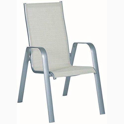 JUSThome ACATOP Chaise Bistro en Acier Chaise de jardin pliante Platine/Sable