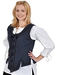 Medieval Clothing - Bodice With Front Lacing - Blue Corsage
