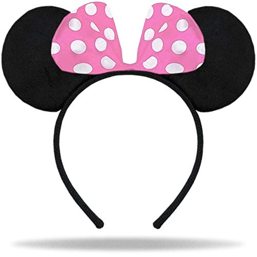 Hatstar Haarreifen mit Maus Ohren | Mouse Ears in schwarz mit Schleife in rosa und weißen Punkten für Kinder und Erwachsene