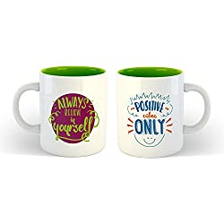 iKraft Dual Tone Green Coffee Mugs Set Inspirational Quotes Always Believe in Yourself and Positive Vibes Only Printed 11oz Ceramic Travel Mug