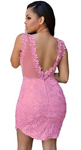 Eozy Femme Robe Floral Dentelle Col V Dos Nu Moulant Crayon Jupe Bal Rose