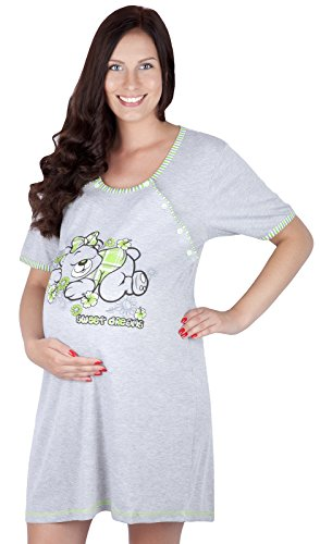 2 en 1 Camisón de maternidad & alimentación / amamantamiento 2055 I (EU 44, Verde claro)