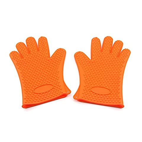 Owfeel Home Kitchen Tool Helper Silicone Gloves for Cooking Baking Oven Heat Resistance Mitt Orange Pack of 1 pair