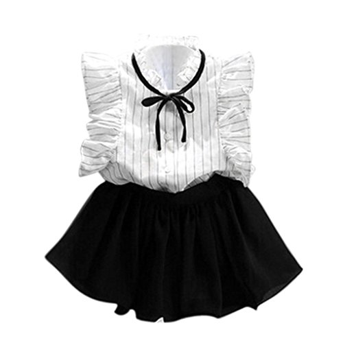 squarex Mädchen Kleider-Set, Mädchen Stripe Shirt Chiffon Culotte Zwei Teilig Kleidung Rock Anzug 4-5Years weiß (Rock Nähen Muster Einfache)