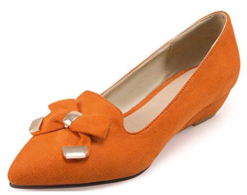 Easemax Damen Stilvoll Bowknot Metallic Accessoire Nubuk Wedge Slipper Pumps Orange 39 EU